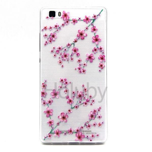 Colored Painting Ultrathin Soft TPU Back Case for Huawei Ascend P8 Lite - Plum Bossom