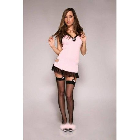 This sweet pink night dress is beautifully decorated with black ruffles at the bottom.  On the side is very playful and a little heart cut surrounded by rhinestones.  The straps of the dress are adjustable and close on the back with a bra clasp.  The stockings and a matching thong is included.  This kit contains everything you need to make your most sweet sexy side to the surface.