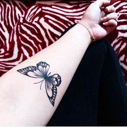 Preto Tatuagem de Borboleta no Braço