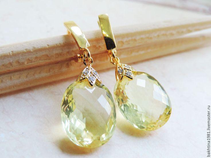 """Купить Серебряные серьги в позолоте """"Limoncello"""" - серьги с камнями, лимонный кварц, желтые серьги"""