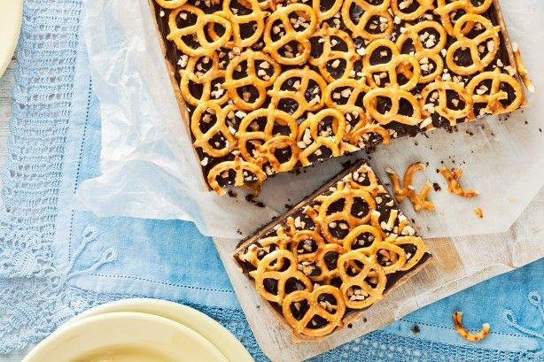 Choc-peanut Pretzel Slice Recipe - Taste.com.au