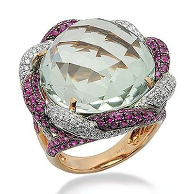 Green Amethyst and Diamond Large Gemstone Ring in Rose Gold
