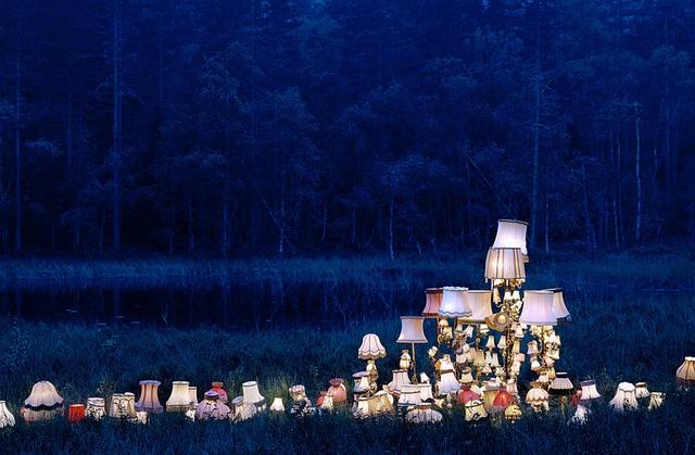 fairytale lamps in the dark, An upward displacement by Blood Milk, artist rune guneriussen , via Flickr