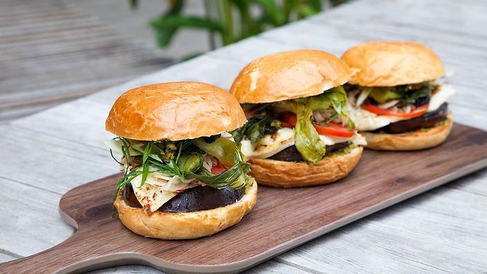 Miso eggplant and haloumi burgers