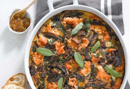 Wood Roasted Smoked Salmon And Winter Mushroom Frittata