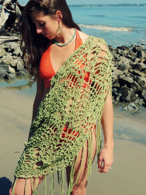 Beach Cover Up Fringe Wrap sarong scarf shawl cotton by EvaVillain, $65.00