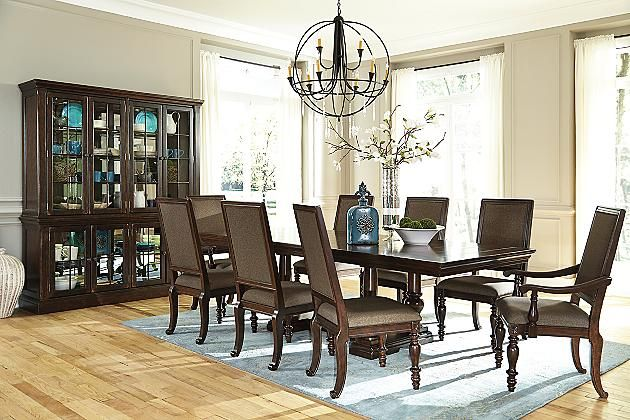 Dark Brown Roddinton Table And Base View 1 Dining Room