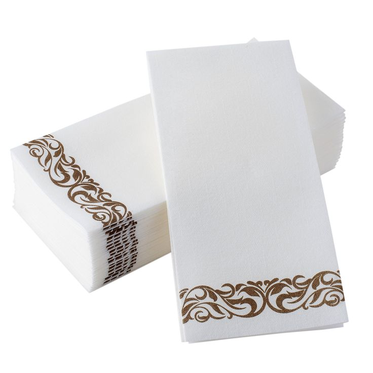 Bloomingoods Disposable Linen-Feel Guest Towels - Decorative White Hand Towels, Floral Paper Napkins (100, Bronze)