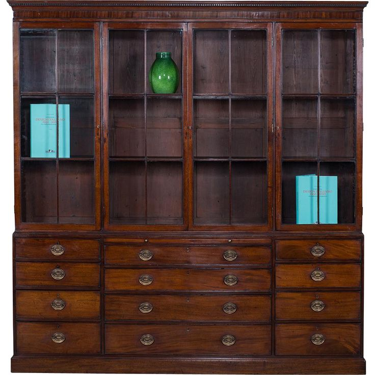 Antique English George III Mahogany Bookcase Display Cabinet circa 1780