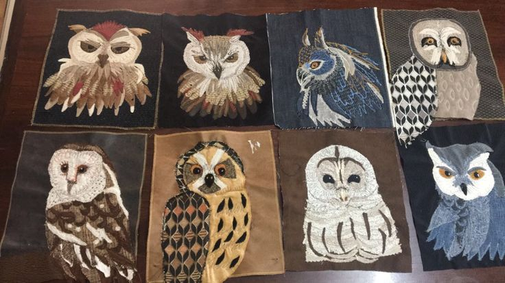 Owls applique thread sketching