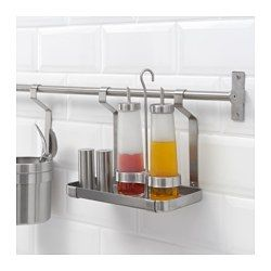 For your salt pig, salt and pepper and oil or spices in recipe. GRUNDTAL Shelf, stainless steel - IKEA