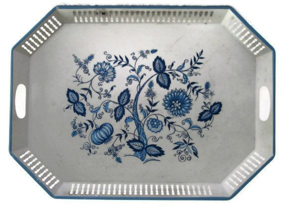 Blue and White Cottage Serving Tray Large Blue Danube Blue Onion Shabby Chic. $32.00, via Etsy.