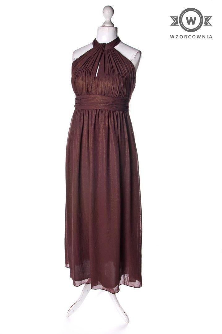 >> #Czekoladowa #sukienka ze złotym połyskiem  #Wzorcownia online | #South #dress #maxi