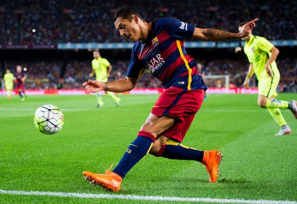 Adriano Correia of FC Barcelona makes a pass during the La Liga match between FC Barcelona and Levante UD at Camp Nou on September 20, 2015 in Barcelona, Catalonia.