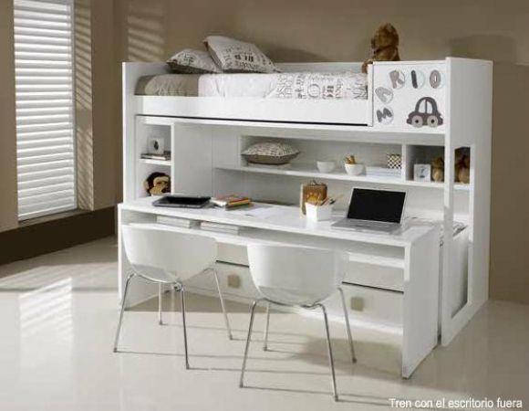 Litera con escritorio 63 litera lacada 2 camas y for Litera escritorio debajo