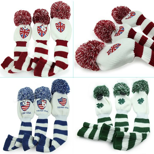 3pcs/lot Knit Golf Covers Headcover For Taylormade Callaway Ping Hybrid Driver Wood   Email: bettygolflover@yahoo.com Skype: betty.den