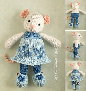 A new knitting pattern by Julie Williams of the Little Cotton Rabbits blog for a girl mouse.  The animal collection keeps growing!