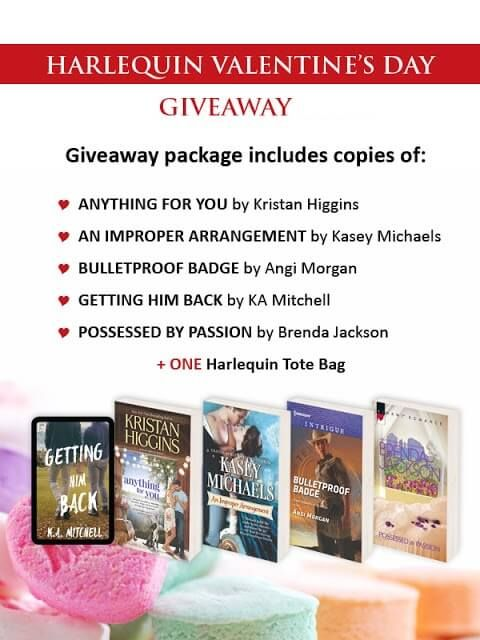 HAPPY VALENTINE'S DAY!   To celebrate HJ has an awesome giveaway compliments of Harlequin Publishing!   UP for Grabs…     GIVEAWAY: Select Harlequin books (noted above) + TOTE BAG   To enter to win: P