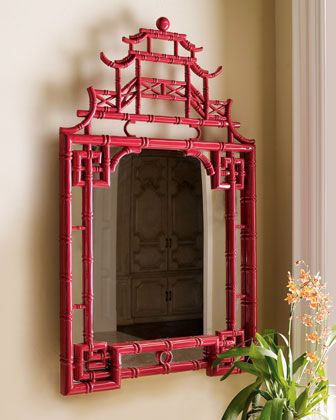 "Pagoda Mirror at Horchow.   Another aspect of Hollywood Regency Design is the use of Chinoiserie, a French term, signifying ""Chinese-esque"", which refers to a recurring theme in European artistic styles, which reflect Chinese artistic influences.:"