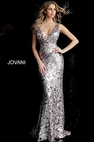 93e26590f63 Dusty Rose Sequin Embellished Fitted V Neck Prom Dress 67740 in 2019 ...