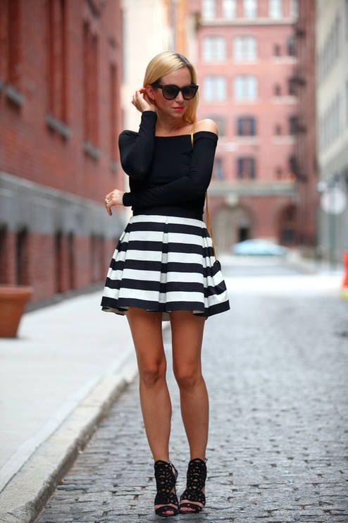 19 best striped black and white skirt images on Pinterest