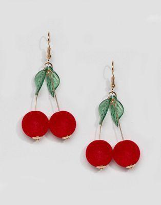ASOS Cherry Drop Pom Earrings