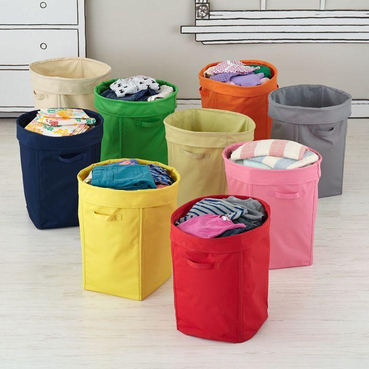 Colorful Foldable Canvas Kids Hamper | The Land of Nod