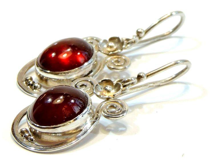 natural garnet silver earrings,hessonite earings,handmade,unique jewelry,sterling silver jewelry,gemstone, by Majlagalery on Etsy