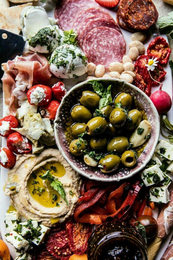 Appetizer: charcuterie. Mediterranean-themed.