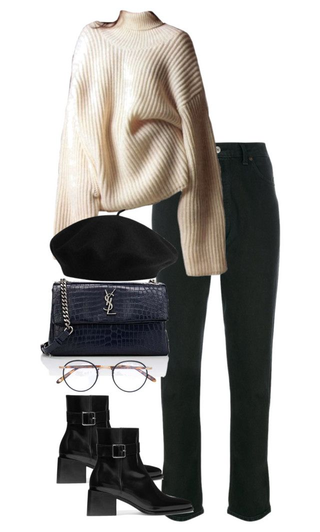 """Untitled #5408"" by theeuropeancloset on Polyvore featuring RE/DONE, Jil Sander, Yves Saint Laurent and Garrett Leight"