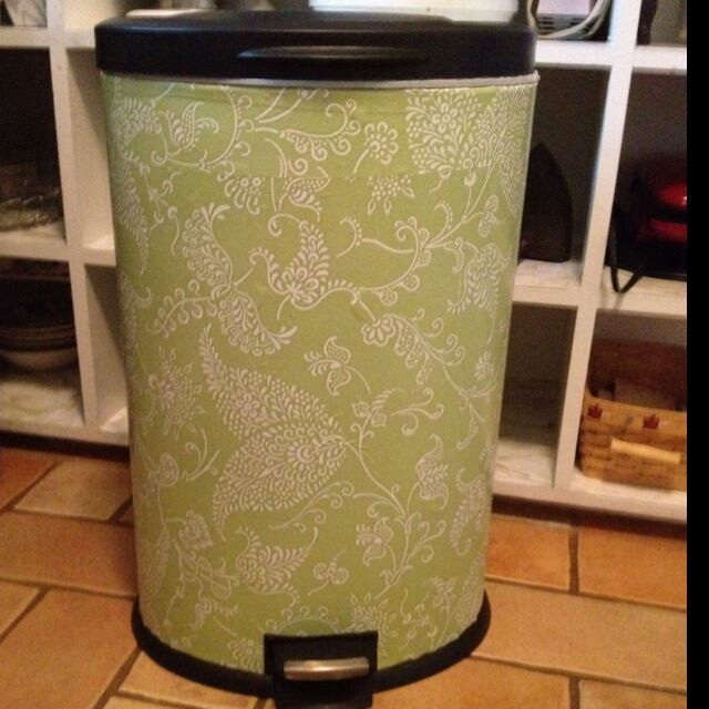 Cover garbage can with patterned contact/shelving paper ... genius!