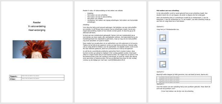 In de Reader voor het vak Gezondheid en Ziekte de skills heb ik een reader gemaakt waarbij de leerling digitaal kan laten zien wat hij heeft gedaan doordat hij hierin bv foto's kan uploaden. Dit vind ik een handige toepassing bij een prakticum, ik zou dit ook als toetsmethode kunnen gebruiken. Verder kan de leerling vragen invullen op de aangewezen plekken, wat het nakijken vergemakkelijkt. Aan de lay-out van het document kan door de leerling niets worden gewijzigd. Bron WORD
