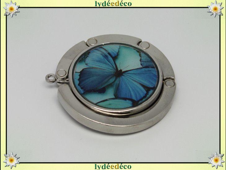 Vrac, Accroche sac a main Papillon turquoise bleu argent est une création orginale de lydeedeco sur DaWanda