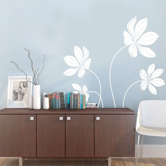 cyclamen flower set decal vinyl wall decals - Simple Shapes Wall Design 2