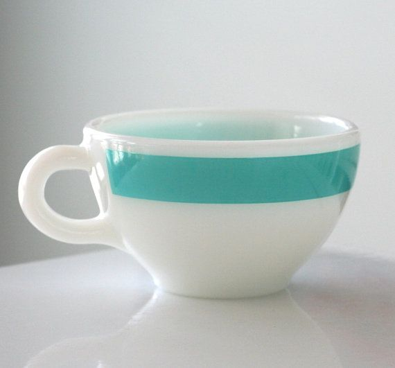 milk glass and turquoise pyrex