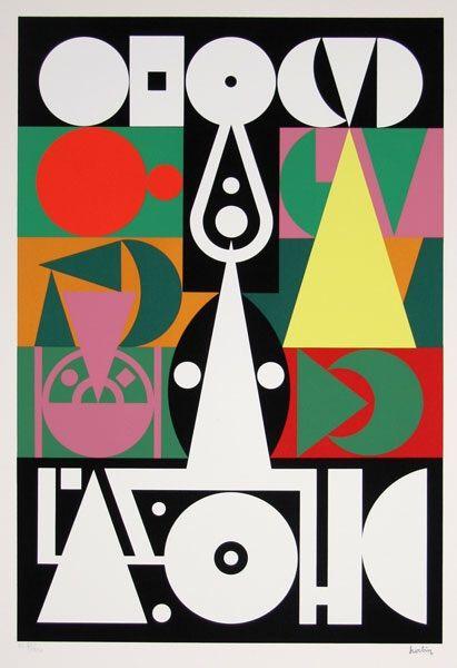Auguste Herbin, Alphabet Plastique, 1950. Silkscreen. Via Ro Gallery