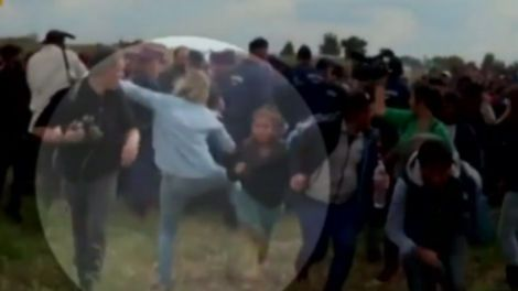 A woman named Petra Lazlo was caught on tape in 2015 tripping and kicking refugees who had been held in a field by Hungarian authorities. The incident took place on the Hungarian-Serbian border, when hundreds of the refugees broke police lines in an attempt to escape. Lazlo, a camerawoman, was there to film the news, but instead she dropped her camera to attack children.