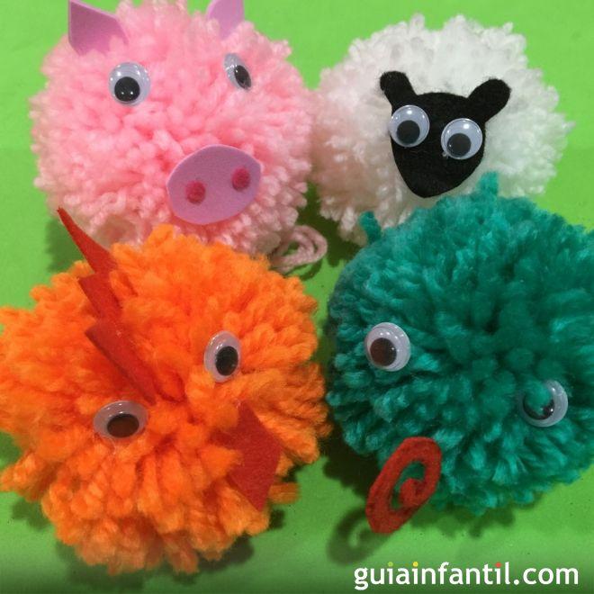 M s de 25 ideas fant sticas sobre pompon de animales en - Manualidades en lana ...