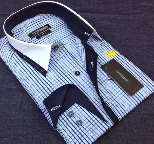 Shirt Up! Menswear Blue checkered business Mens shirt SLIM FIT