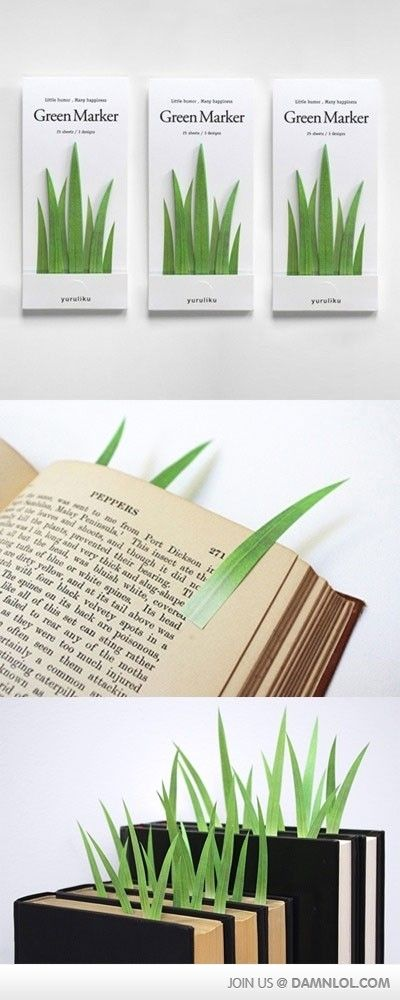 Green marker - finding the balance between plants and books on your shelf.