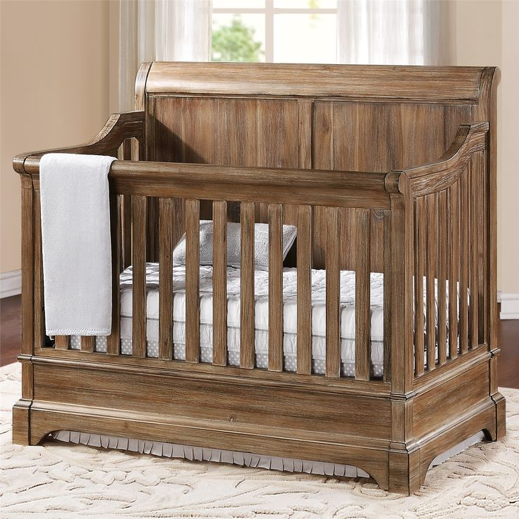 Amusing Rustic Baby Cribs : Amazing Rustic Baby Convertible Cribs With Wood Material And Window Treatment Plus Bedding Sets