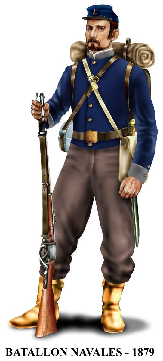 Los Navales, cuyo verdadero nombre era Batallón Cívico de Artillería Naval, era una unidad de infantería reclutada entre los boteros de Valparaiso.