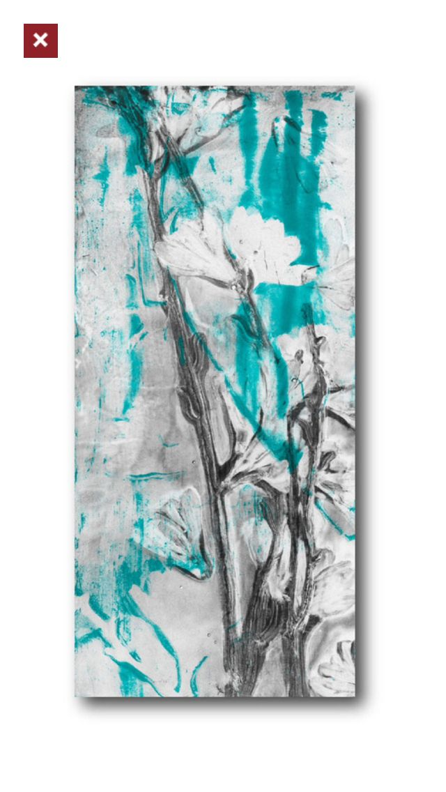 Turquoise Amp Grey Floral Ii Canvas Wall Art Artwork