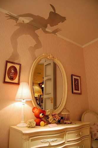 Peter Pan shadow, cut out and put on top of lamp shade in the kids room! Cute.. Kinda creepy.. But cute.