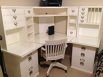 Corner Desk Chair Nursing Australia Pottery Barn Bedford Hutch And Acrylic Desktop Protector Home Ideas Pinterest Office