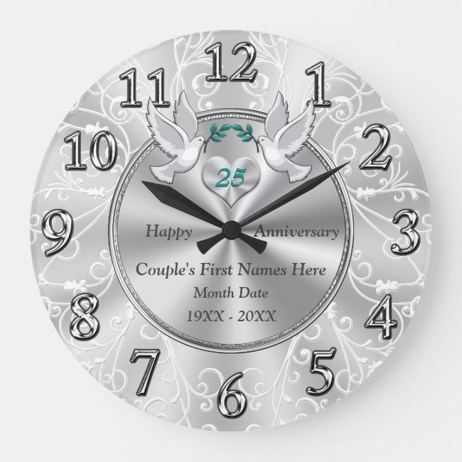 Personalized 25th Wedding Anniversary Gifts Large Clock Zazzle Com In 2020 25 Wedding Anniversary Gifts Wedding Anniversary Gifts 25th Anniversary Gifts