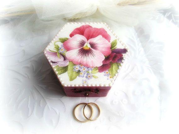 Ring bearer box floral ring box wedding ring box violet
