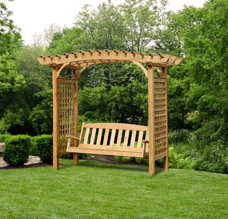 42 best images about outdoor swings on pinterest for Wooden garden arbor designs