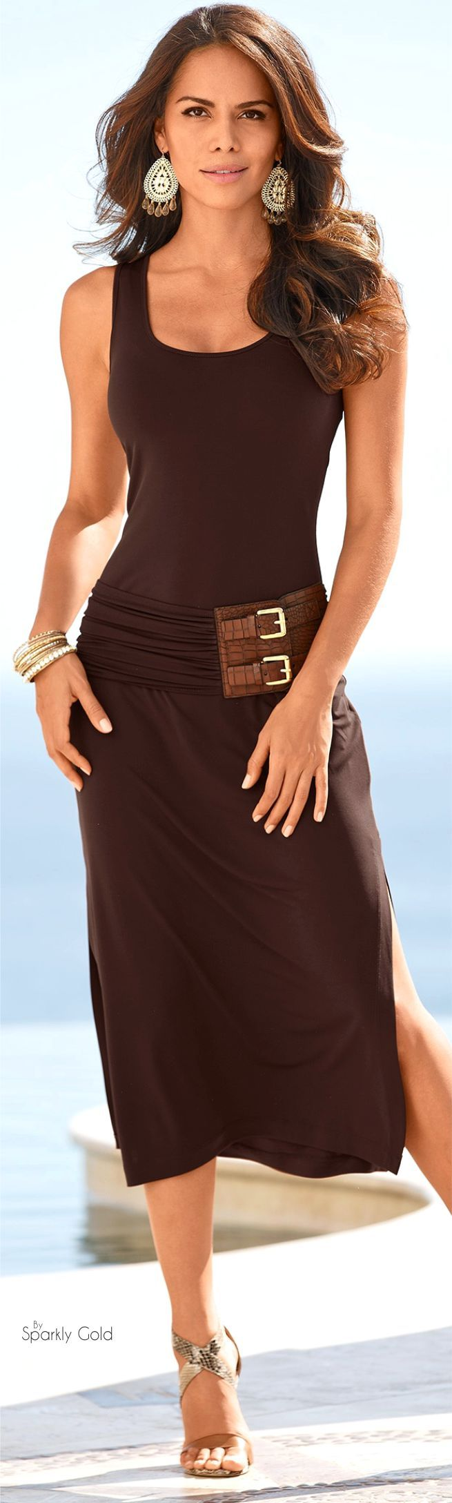 brown dress  women fashion outfit clothing style apparel @roressclothes closet ideas