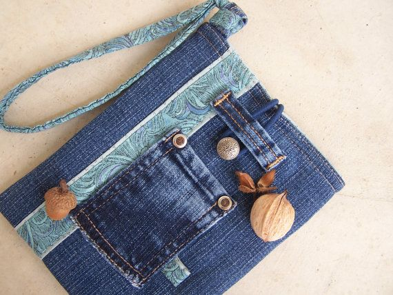 Denim wristlet slip case from upcycled jeans; all dressed up for fall in the Etsy shop